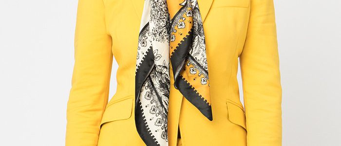 Janette Scarf With Faux Fur Collar/Yellow