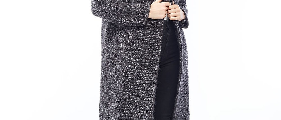 Chunky Hoodie Heather Cardigan - Charcoal