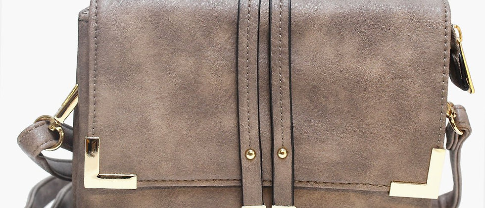 Pop Accessory - Stitching Detailed Crossbody Bag - Taupe