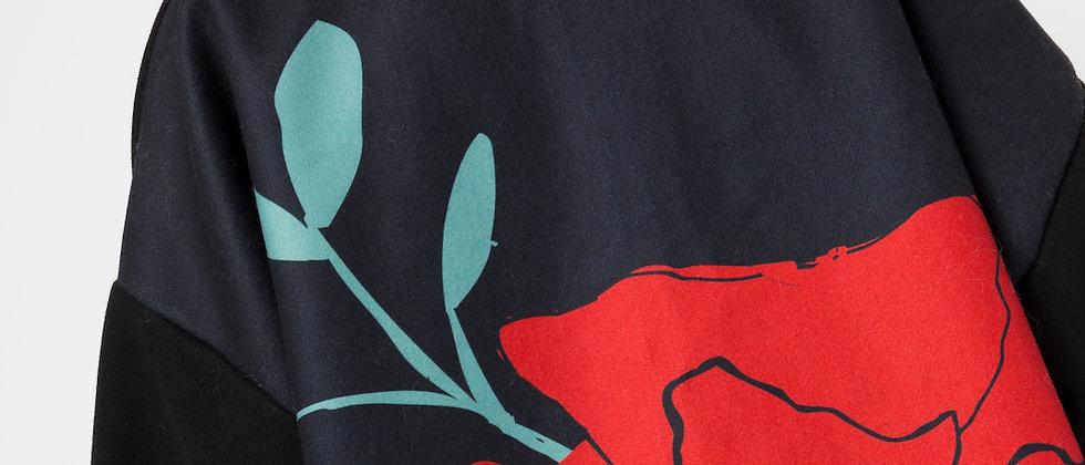 Poppy Coat – Black/Red
