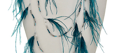 Silver Thread Cord & Teal Mix Seed Beads Necklace