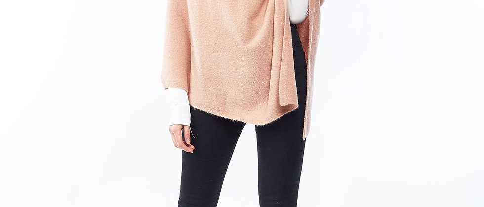Basic Cashmere Blend Wrap Poncho - Blush