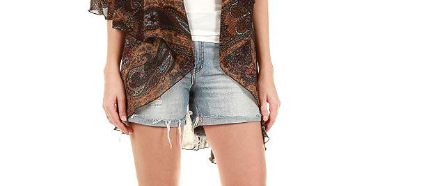 76VP81 BROWN PAISLEY PRINT MULTI SHAWL VEST