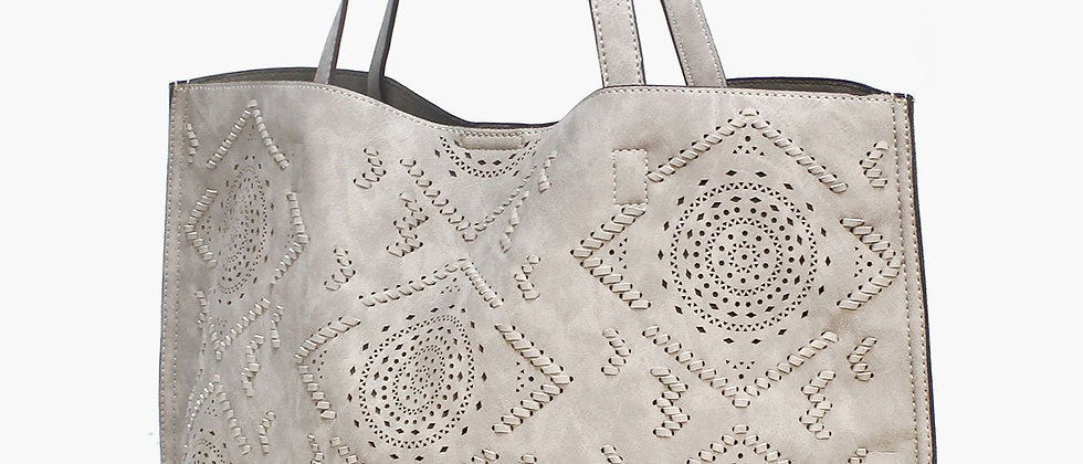 Laser Cut Carry-All Tote - Grey