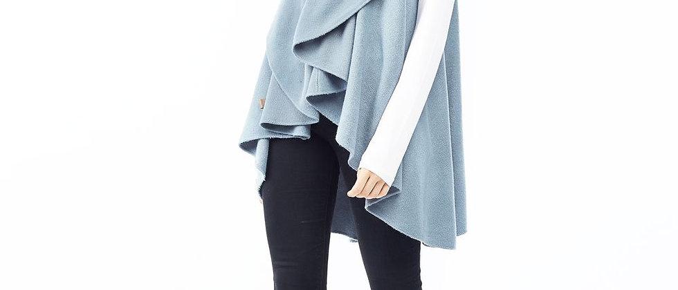 POPSM139 Utility Convertible Vest/Sahwl - Dusty Blue