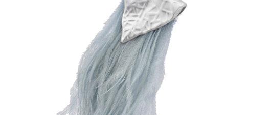 Grey Suede & Feather Necklace