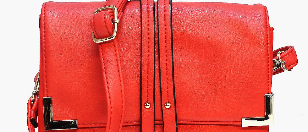 Pop Accessory - Stitching Detailed Crossbody Bag - Red