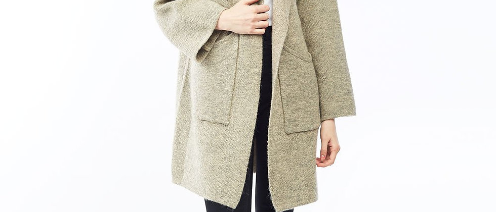 Curled Pockets Wool Cardigan - Beige