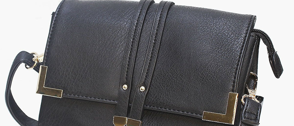 Pop Accessory - Stitching Detailed Crossbody Bag - Black