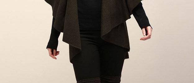 POPAM139-Utility Convertible Vest/Shawl - Dark Olive