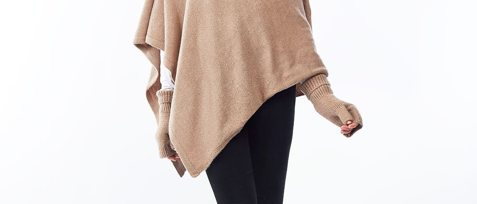 Basic Cashmere Blend Wrap Poncho-Taupe