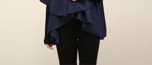 POPAM139-Utility Convertible Vest/Shawl - Light Denim Blue