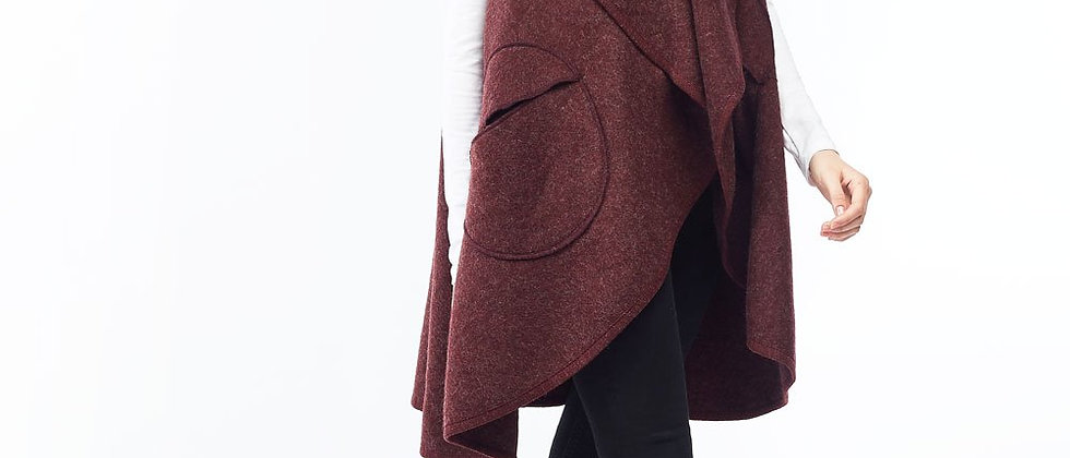 Circle Pocket Shawl Vest-Burgundy