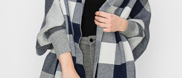 Plaid Shawls with Sleeves - Navy