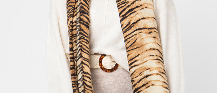 Tammy Tiger Print Scarf with Fringing