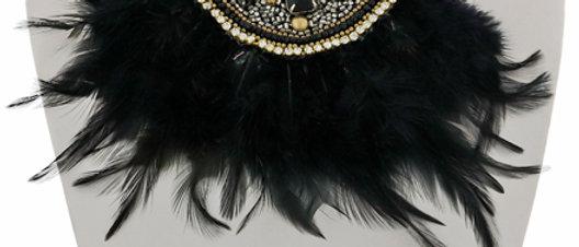 Gold Tone / Black & Hematite Tone Seed Beads Necklace