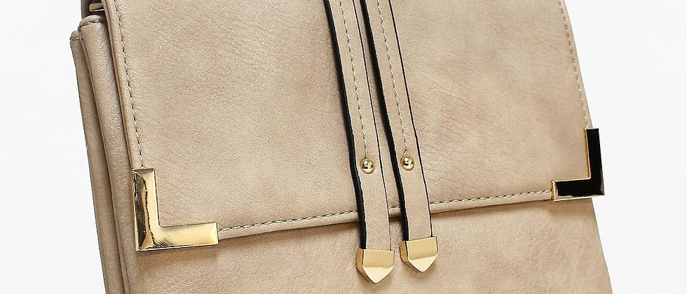 Pop Accessory - Stitching Detailed Crossbody Bag - Nude
