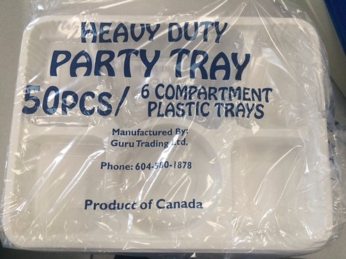 6 Compartment Party Trays (Plastic Plates) 50 PACK