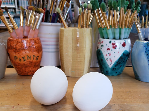 """one 4"""" plain ceramic bisque eggs"""