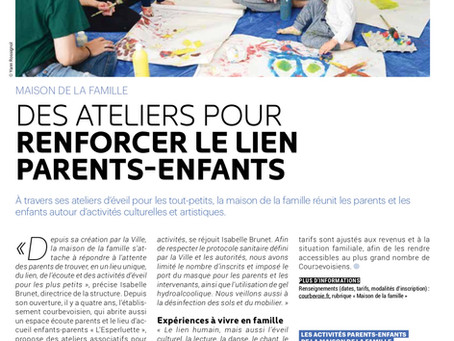 les familles jouent, s'amusent , s'émerveillent au cours des ateliers parents-enfants de Courbevoie!