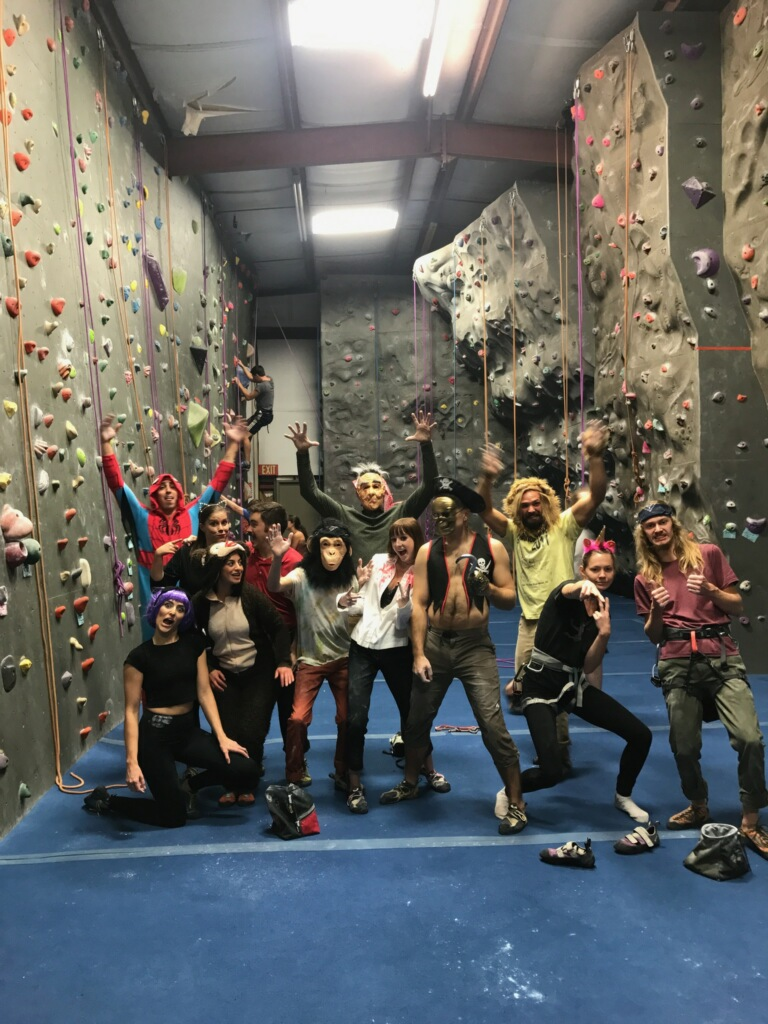 Rock climbers in costumes halloween