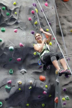 lowering off rock climbing wall
