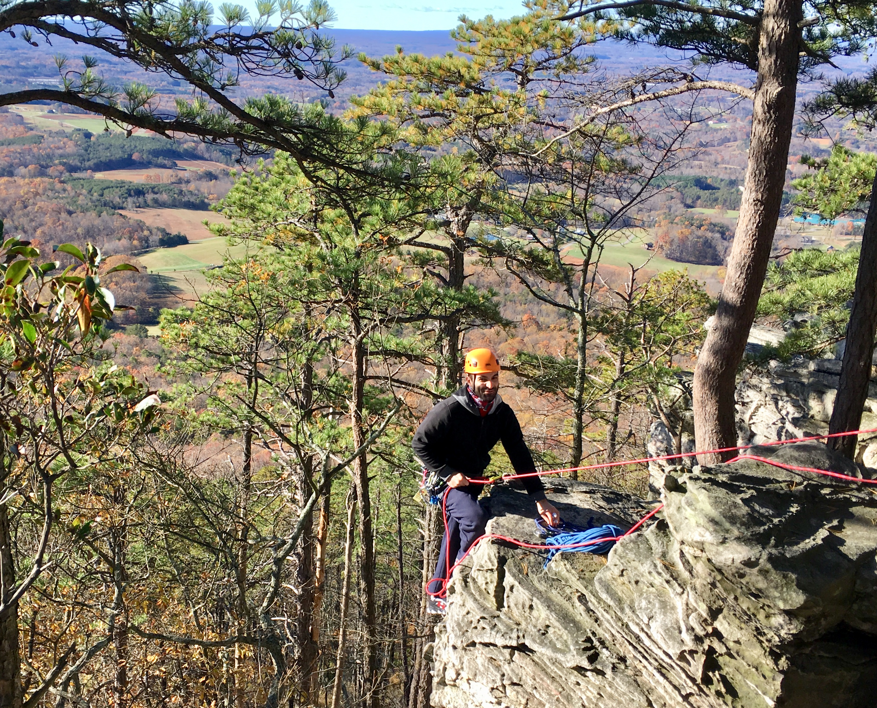 Man climbing outdoors at Pilot