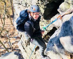 Woman climbing outdoors Pilot Mounta