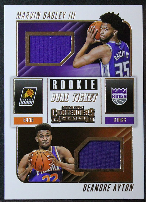 Deandre Ayton / Marvin Bagley Jr 2018-19 Contenders Rookie Ticket Dual Swatches