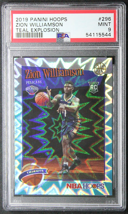 Zion Williamson 2019-20 NBA Hoops Teal Explosion PSA 9