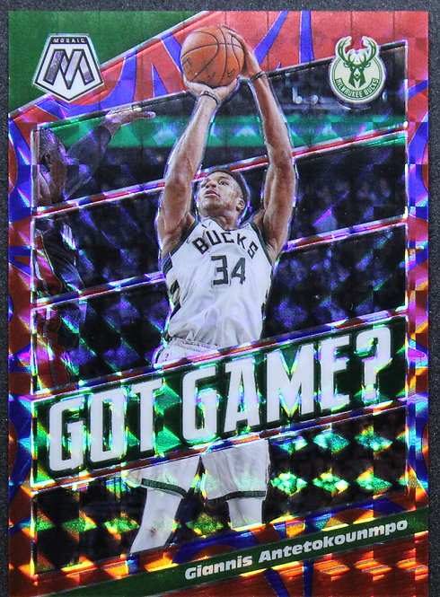 Giannis Antetokounmpo 2019-20 Mosaic Got Game? Blue Reactive 22/99