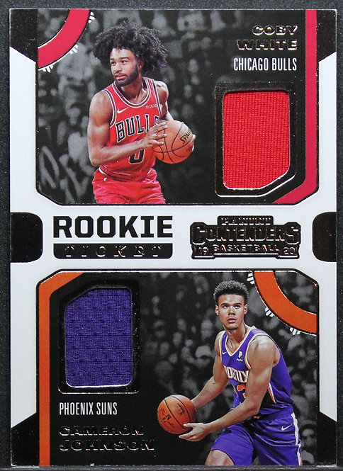 Cameron Johnson / Coby White 2019-20 Contenders Rookie Ticket Dual Swatches