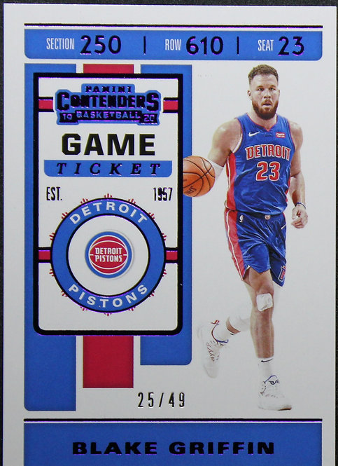 Blake Griffin 2019-20 Contenders Game ticket Purple 25/49