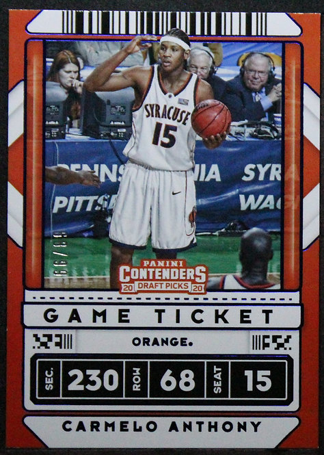 Carmelo Anthony 2020-21 Contenders Draft Picks Game Ticket Blue /99