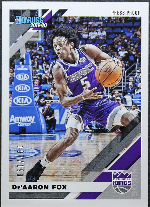 De'Aaron Fox 2019-20 Donruss Press Proof Purple 197/199