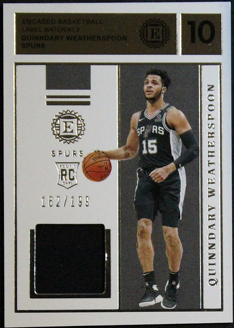 Quinndary Weatherspoon 2019-20 Encased Rookie Label Materials 162/199