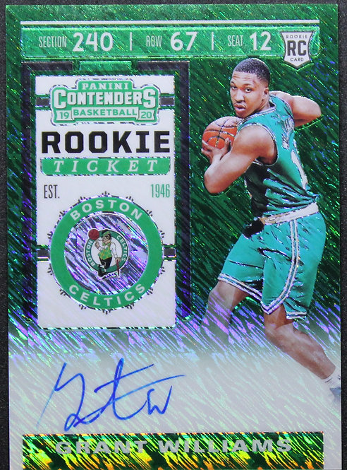 Grant Williams 2019-20 Contenders Photo Variations Green Shimmer Auto RC