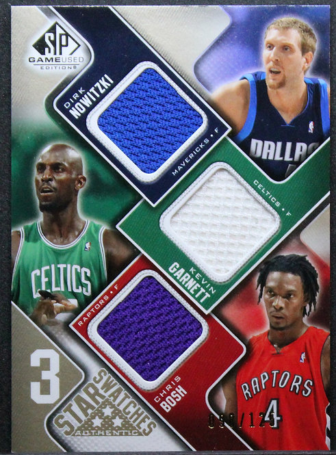 Dirk Nowitzki / Kevin Garnett / Chris Bosh 2009-10 SP Game Used 3 Star Swatches