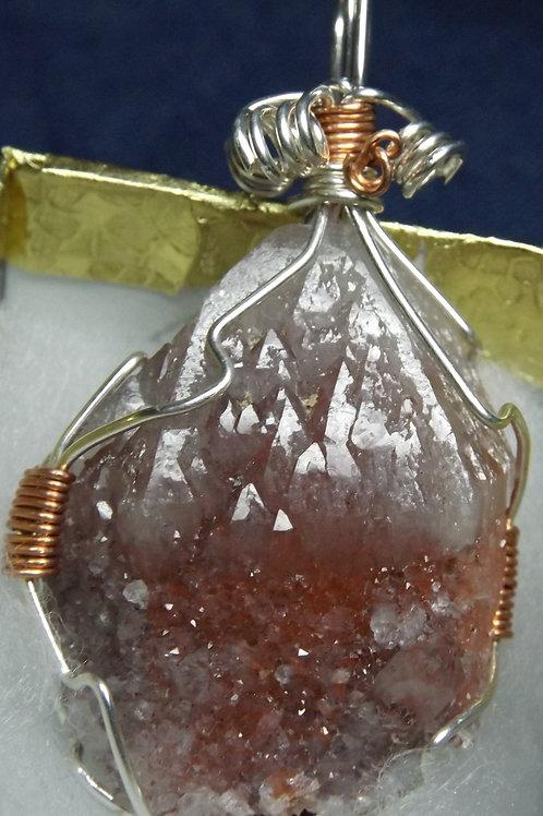 Rare Raspberry Quartz Crystal Pendant