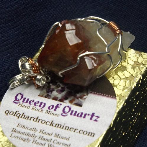 Silver Wrapped Phantom Amethyst/Ametrine Crystals