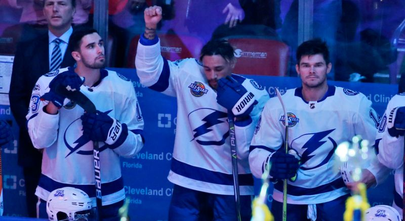Lightning RW J.T. Brown Raises Fist