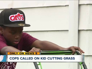 Viral video: Police called on 12-year-old mowing grass which ends up getting him more business
