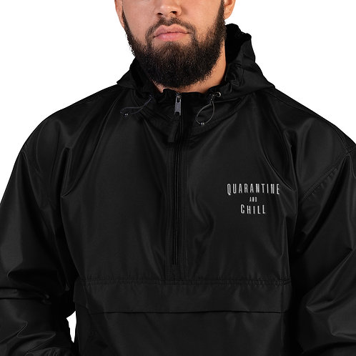 Quarantine and Chill Embroidered Champion Packable Jacket