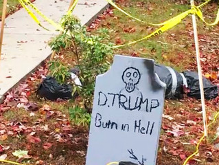 NY man won't take down 'Trump – burn in Hell' Halloween decorations after neighbor tells him to to g