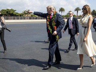 'Aloha also means goodbye': Trump lands in Hawaii to cheers and protests ahead of Asia trip