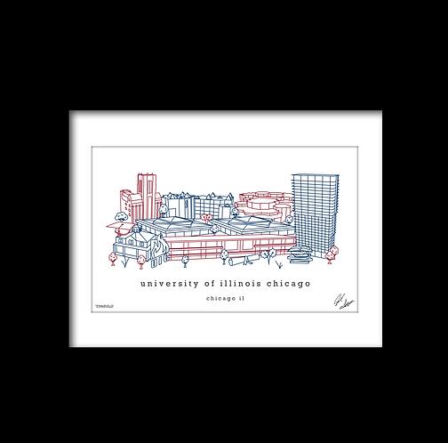 University of Illinois Chicago Campus Minimalist Art Print
