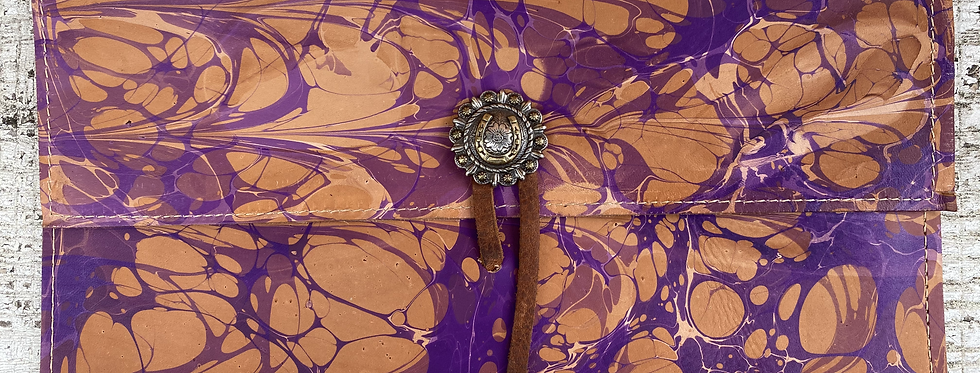 Marbled Leather Clutch Purple/Brown