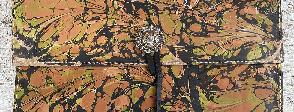 Marbled Leather Clutch Rust/Black