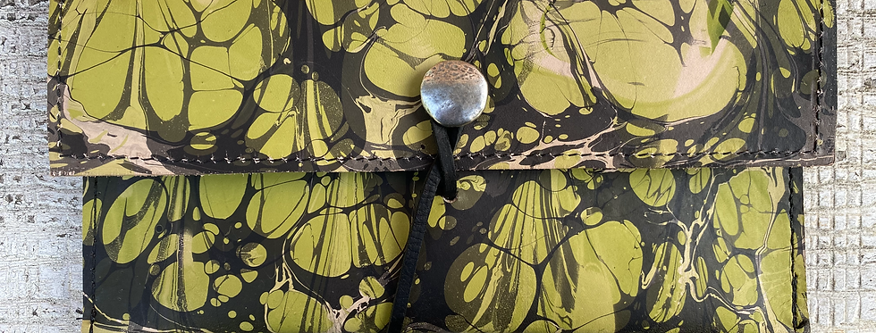 Marbled Leather Wallet Lime/Black