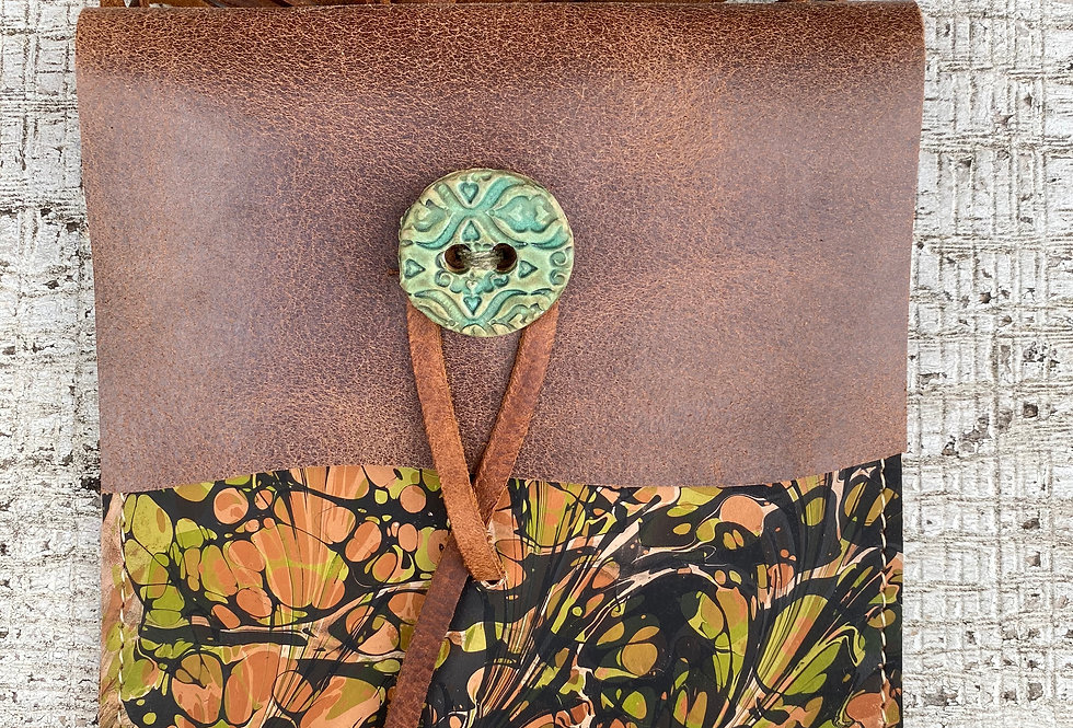 Marbled Leather Crossbody Bag Green/Tan